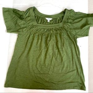Military green square neck line top